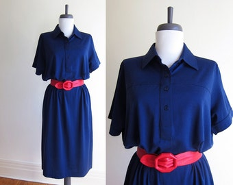 Vintage 1970s Dress / Sport Polo Knit Navy Blue Tee Dress / Size Large XL Extra Large