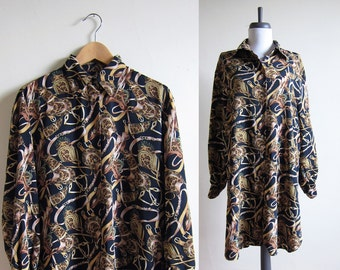 Vintage 1990s Tunic Top or Shirt Dress / Equestrian Print Blouse / Size Large / Extra Large / Plus Size