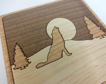Howling Wolf Trivet in Walnut, Oak, and Maple Wood - Sustainable Harvest -  Timber Green Woods