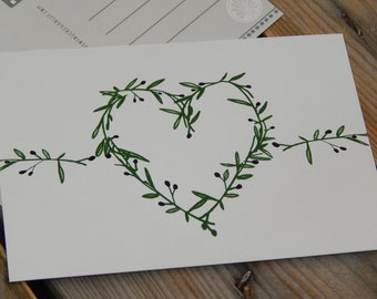 Olive Branch Heart Postcard