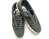 Vintage VANS Pro-Classics UltraCush Skateboarding Kicks - size 12 US EU 46 -Lace Tie Green Suede Low - Great Condition - Boarding Shoes