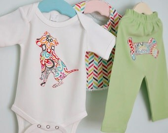 Pit bull baby gift set - Bodysuit, pants and bib - Size 0-3 mos