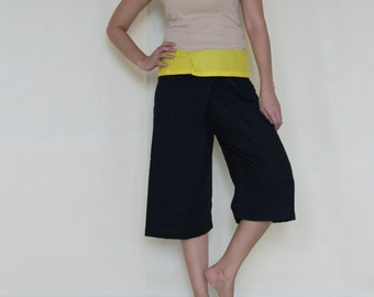 Knee Length black with Yellow colour at waist fisherman wrap pants
