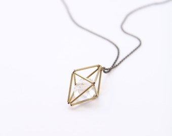 Yevette- Geometric Brass Prism Necklace // Cival Jewelry Design // Cage pendant // Layering/ Cival Jewelry