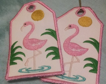 Pink Flamingo Embroidered Luggage Tag