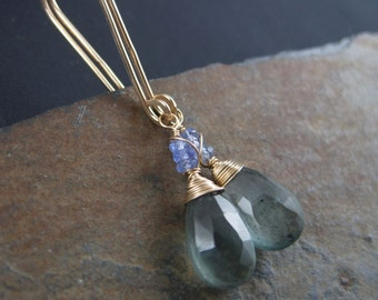 Water Drops Moss Aquamarine Briolette Earrings with Tanzanite - Faceted Tear Drops -  Gold Filled Hook Earrings