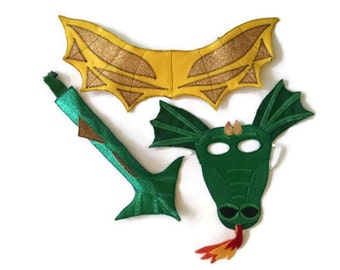 Dragon Costume, Dragon Mask, Dragon Tail, Dragon Wings, Kids Mask, Child Mask, Dress Up, Children's Halloween Costume, Adult Mask