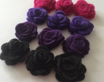 Chunky rolled felt flowers - hot pink/ rasperry, mid and dark purple, black  - set of 12 pieces - four colors