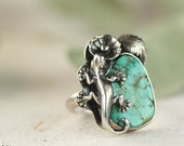 Sculpture Southwestern Turquoise Cocktail Ring, Gecko, Statement Ring, Sterling Silver Ring, Size 9, Ready to Ship