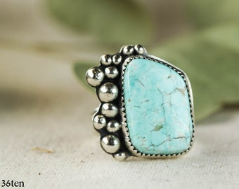 Unique Southwestern  Turquoise Cocktail Ring, Statement Ring, Sterling Silver Ring, Size 7, Ready to Ship