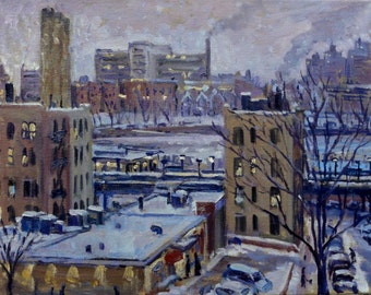New York City Oil Painting, Night Snow, NYC. Original 11x14 Oil on Canvas, Impressionist Plein Air Oil, Signed Original Fine Art