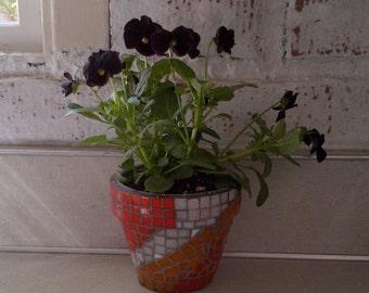 """Tile Mosaic Planter Pot - succulents - 4"""" flower pot - custom colors"""