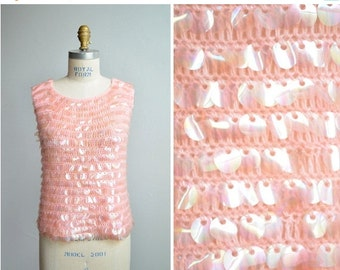50% OFF SALE / SALE / Vintage 1960s sweater tank with palette sequins