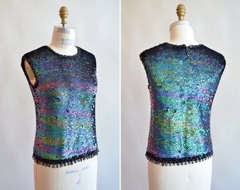 Vintage 1960s SEQUINED knit tank