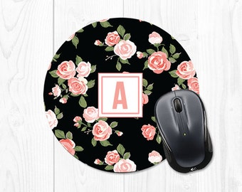 Mouse Pad Mousepad Gift Mom Cubicle Accessories Gift Sister Gift Daughter Gift for Coworker Personalized Monogram Mouse Pad Floral Mousepad