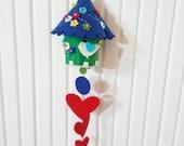 Colorful Felt Birdhouse Hanging, Ornament Dark Blue