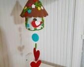 Colorful Felt Birdhouse Hanging, Ornament Brown