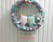 Cute Owls Family and Flower Tree, Floral Butterfly, Pastel Colors, Gray For Twin Babies Door Wreath, With Name Plate