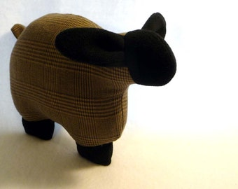 Stuffed lamb, stuffed sheep, upcycled wool sheep: brown and black