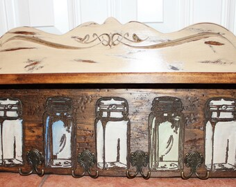Ball Jar - Hand Painted Shelf With 4 Double Hooks - Rustic Kitchen - Hand Made