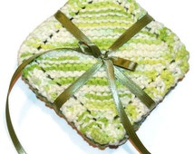 Camo Green, Mini-Hand Knit Dish Cloths, Scrubbies, Face Scrubbers, Reusable Wet Wipes, Coasters