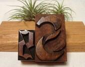 Fancy Letter S Wood Type 2 Letterpress Blocks Initial S Old English