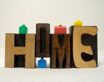 Letterpress HOME Wood Type Font Variety H O M E Letters Vintage