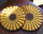 Two Vintage Hand Crocheted 1950s Sunflower Hot Pads Potholders in Yellow Gold and Chocolate Brown