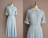 50s baby blue linen Marian Carol vintage dress / vintage 1950s dress