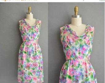 25% off SHOP SALE... Malcolm Star 50s water color floral chiffon vintage wiggle dress / vintage 1950s dress