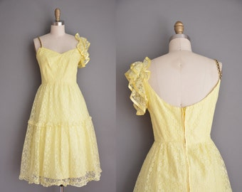 vintage 1960s dress / buttercup yellow lace dress / 60s dress