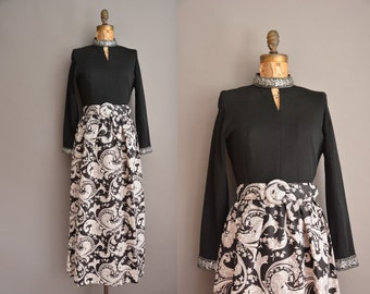 60s paisley black and white vintage maxi dress / vintage 1960s dress