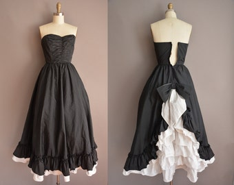 50s tuxedo strapless vintage party dress / vintage 1950s dress