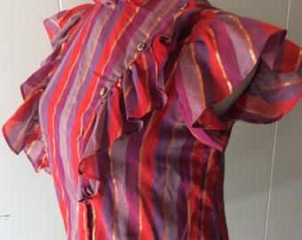 Bright Gold and Pink Plaid Ruffled Blouse 1980s Small