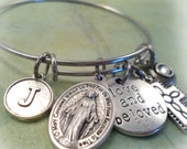 Miraculous Medal, Love and Beloved Mother Mary Devotional Bangle, Swarovski Birthstone Crystal,  Monogram Letter