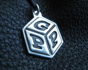 Baby Alphabet Block Silver Pendant Necklace Purse or Diaper Bag Charm Zipper Pull
