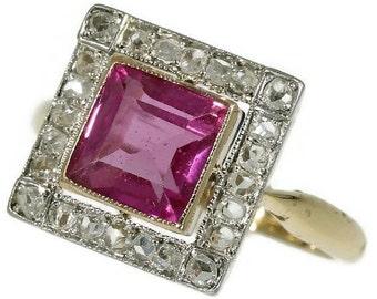 Summer Sale Vintage Art Deco Diamond Pink Stone Square Setting Ring ref.13318-0086
