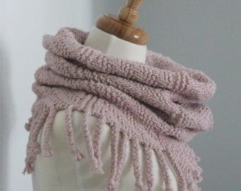 Scarf KNITTING PATTERN- Fringed Cowl Scarf PDF knitting pattern