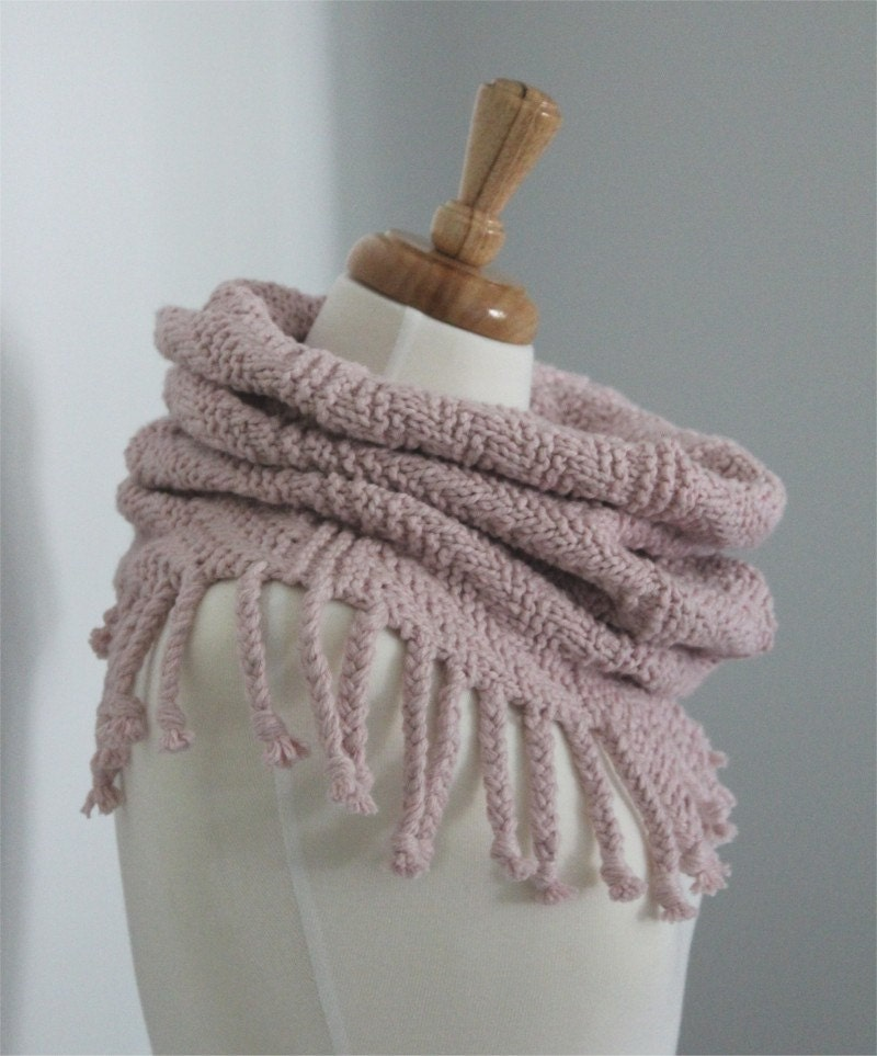 Scarf KNITTING PATTERN Fringed Cowl Scarf PDF knitting
