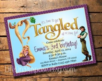 Tangled Rapunzel Birthday Party Invitation