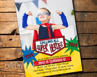Super Hero Birthday Party Invitation
