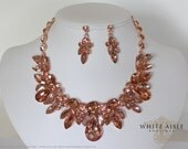 Rose Gold Bridal Jewelry Set, Wedding Jewelry Set, Crystal Statement Necklace, Vintage Inspired Necklace, Bridal Necklace, Rhinestone