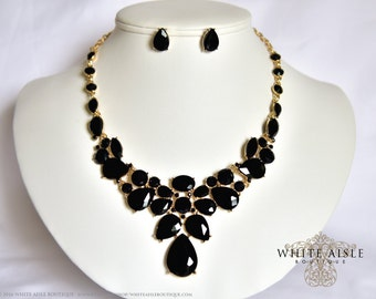 Black Wedding Jewelry Set, Crystal Statement Necklace, Bridal Jewelry Set, Vintage Inspired Necklace