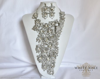 Peacock Bridal Jewelry Set, Bib Necklace, Bridal Statement Necklace, Crystal Wedding Jewelry Set, Bridal Earrings, Vintage Inspired Necklace