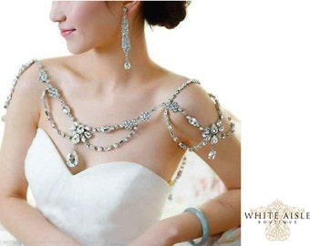 Crystal Bridal Shoulder Necklace, Statement Necklace, Vintage Inspired Necklace, Backdrop Necklace
