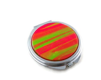 Mirror compact for purse or pocket bright colors accessory