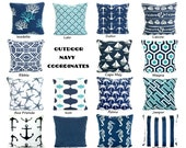 OUTDOOR Pillow Covers, Deach Decor, Throw Pillows, Nautical Cushion Covers, Oxford Navy Blue Aqua White  - Mix & Match One or More ALL SIZES