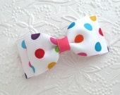 "Back to School Bows ~ Toddler ~ Girls Hair Bow, 3"" Polka Dot Boutique Hair Bow"