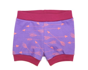 Arrows | Organic Baby Shorties | Purple | Shorts | Screen Printed Clothing | Pants | Organic Baby Clothes | Unisex | Diaper Cover