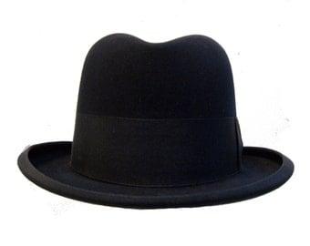 Vintage Mens Homberg Hat Antique Herbert Johnson John Wanamaker Black Fur Felt English Gentlemans Hat Mns Size 7 1/8 Medium